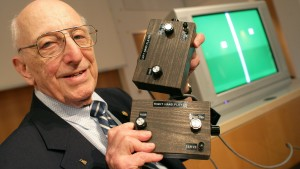 German-American game developer Ralph Baer shows the prototype of the first games console which was invented by him during a press conference on the Games Convention Online in Leipzig, Germany in 2009. Baer died in 2014. He was 92.